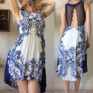 Free People Blue White Rose Lace Back Hi-lo Dress